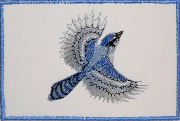 """""""Flight of the Blue Jay"""" - machine embroidered 4x6"""" fiberart card by Pat Dolan SOLD"""