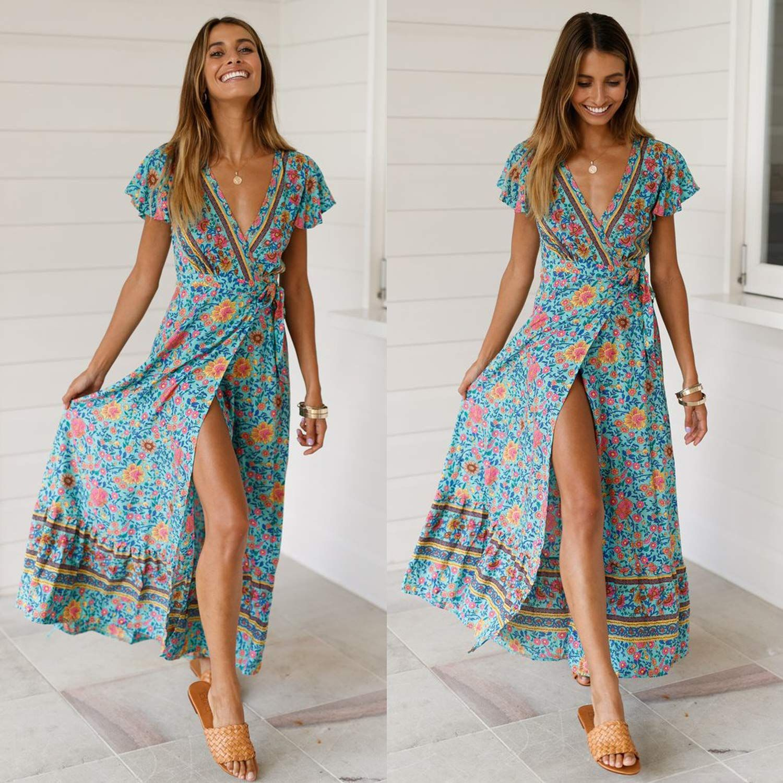 77864df0df ECOWISH Women's Dresses Bohemian Wrap V Neck Short Sleeve Ethnic Style High  Split Beach Maxi Dress