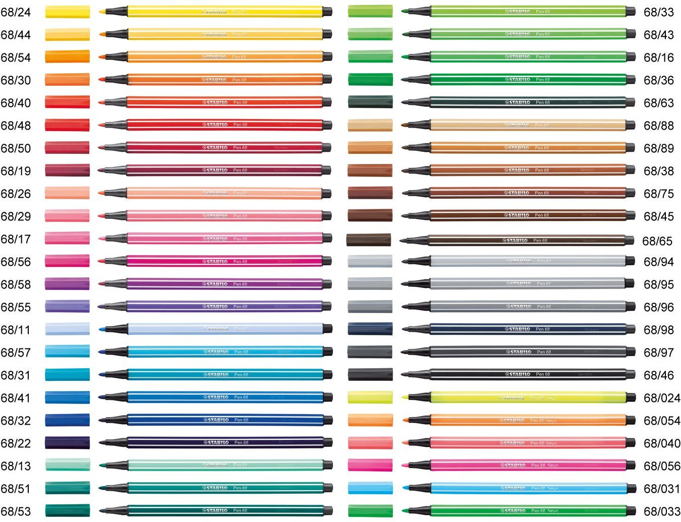 Premium Felt Tip Pen STABILO Pen 68 Colorparade 20 Assorted Colours