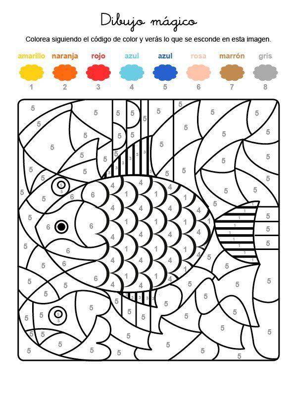 Dibujo Magico De Un Pez De Colores Dibujo Para Colorear E Imprimir Pez Para Colorear Dibujos Para Colorear Peces De Colores Dibujos