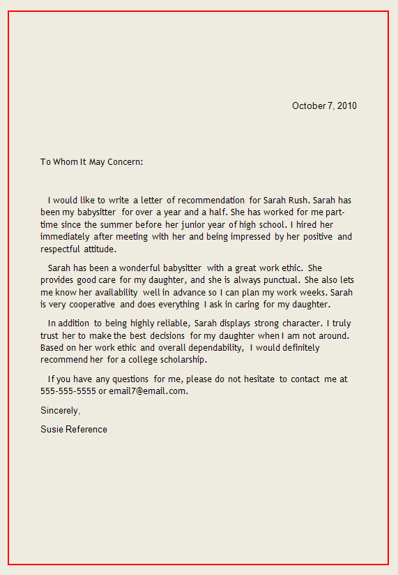 personal letter of recommendation reference letter1 writing a reference letter