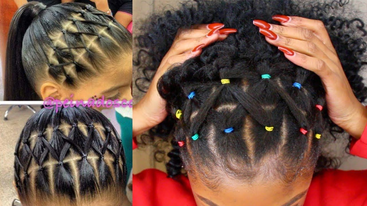 Pintrest Rainbow Rubber Band Braidless Crochet Half Up Half Down Hairst Natural Hair Styles Curly Hair Styles Naturally Natural Hair Styles Easy