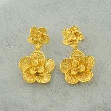 Gold Flower Earrings Fancy Jewellery Gold Design Flower Designs
