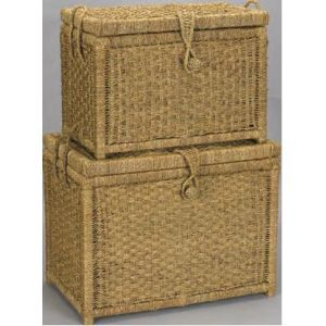 Charming Hold N Storage Seagrass Chest With Woven (Set Of 2)