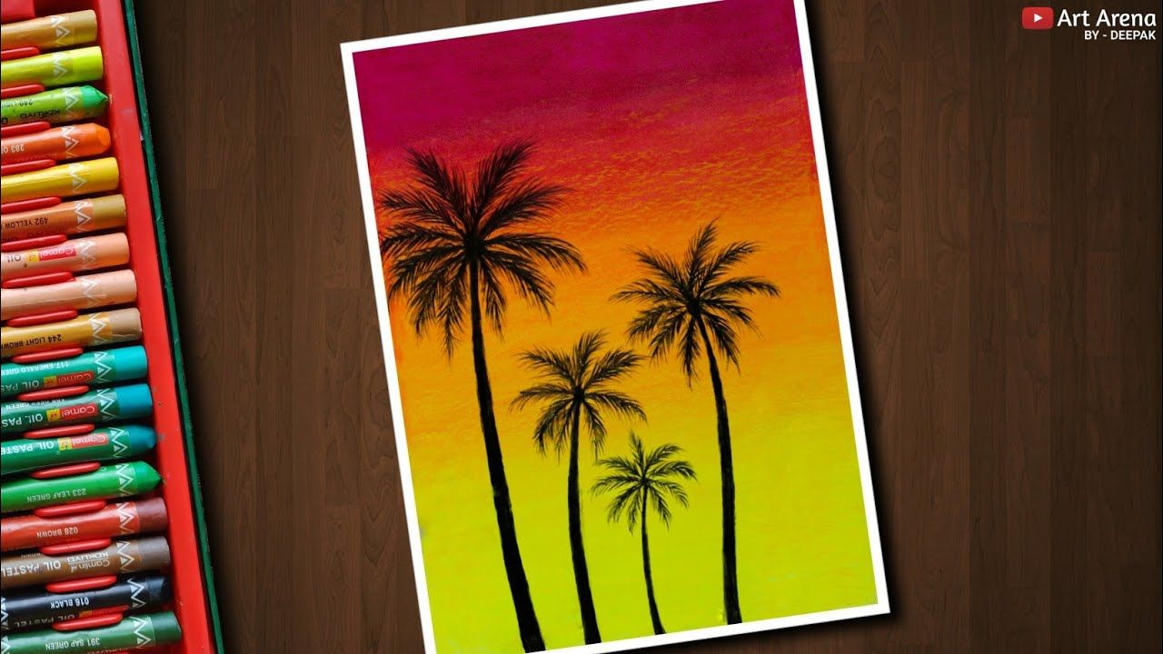 Happy Palm Trees Drawing For Beginners With Oil Pastels Step By