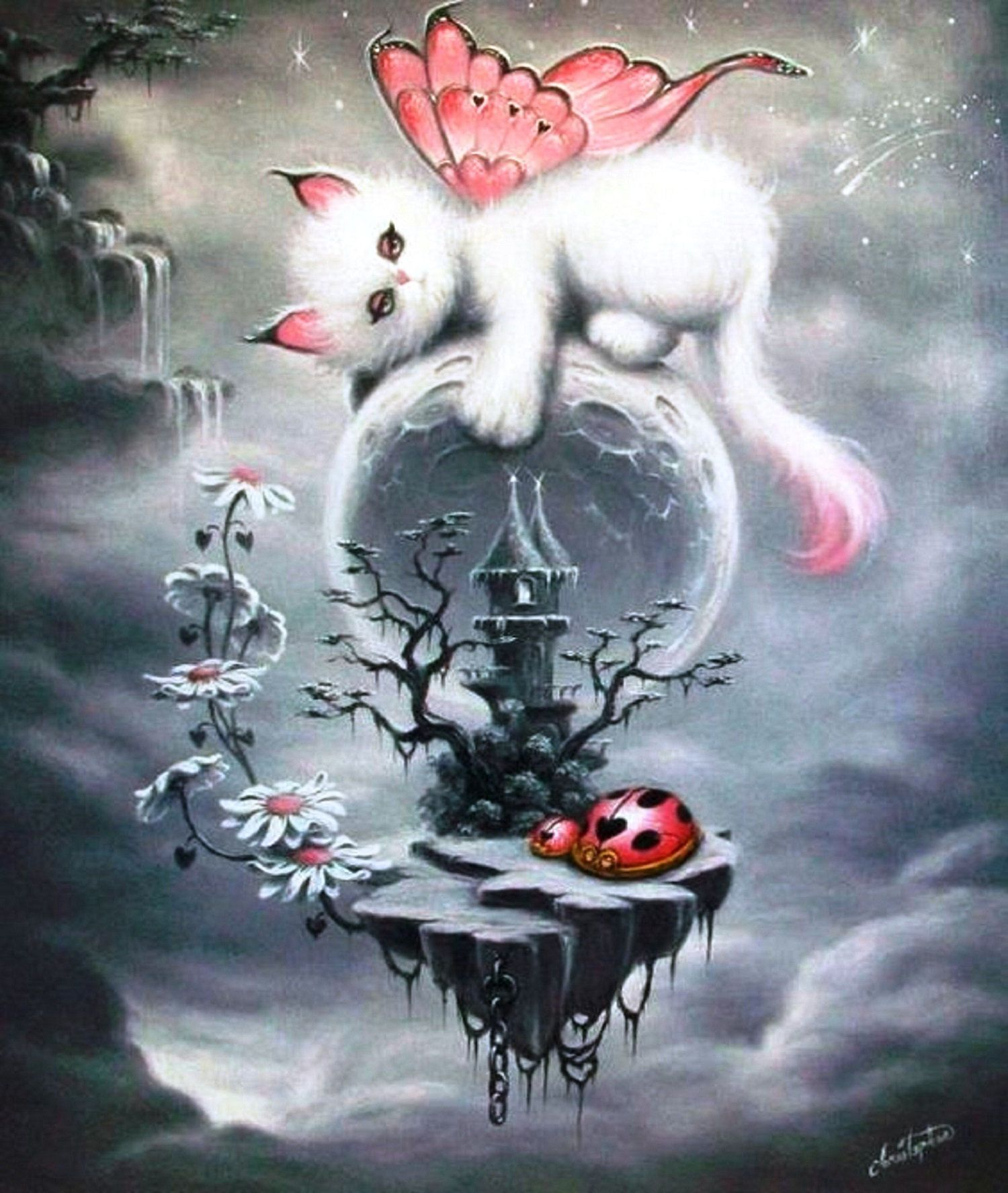 Fairy Dragon Kitty And Castleadorable For A Child S Room Etsy In 2020 Kitten Art Cat Art Fairy Art
