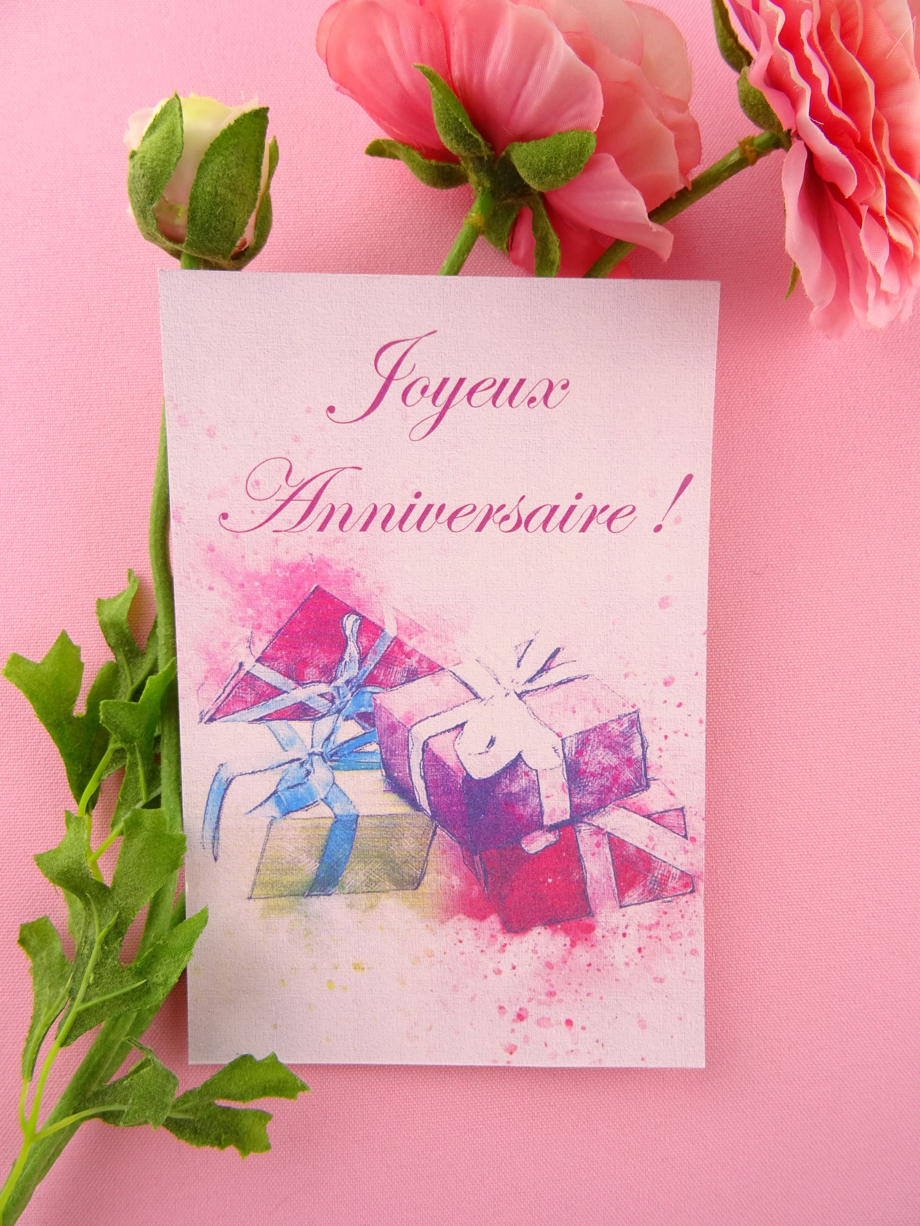 Carte de vœux - Joyeux anniversaire Conçue et imprimée en France Pétale douceurs fleur… | Carte ...