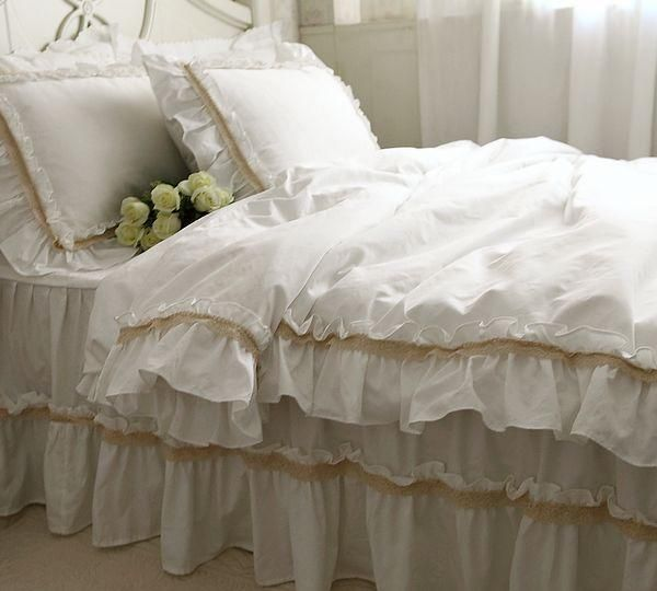 Aliexpress Com Buy Fadfay White Bedding White Luxury Lace Ruffle Bedding Set Elegant Romantic Ruffle Duvet Covers Ruffle Bedding Sets Cheap Bedding Sets Bed