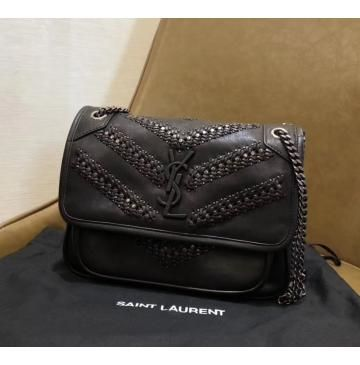 Saint Laurent Baby Niki Chain Bag in Vintage Leather Braided and Stud  Detailing af06be9333175