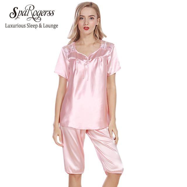 Luxurious Women Pajama Sets Faux Silk Ladies Pajama Pants 2 Pcs Set Summer  Sleep Lounge Woman Pyjama afcac6bd5