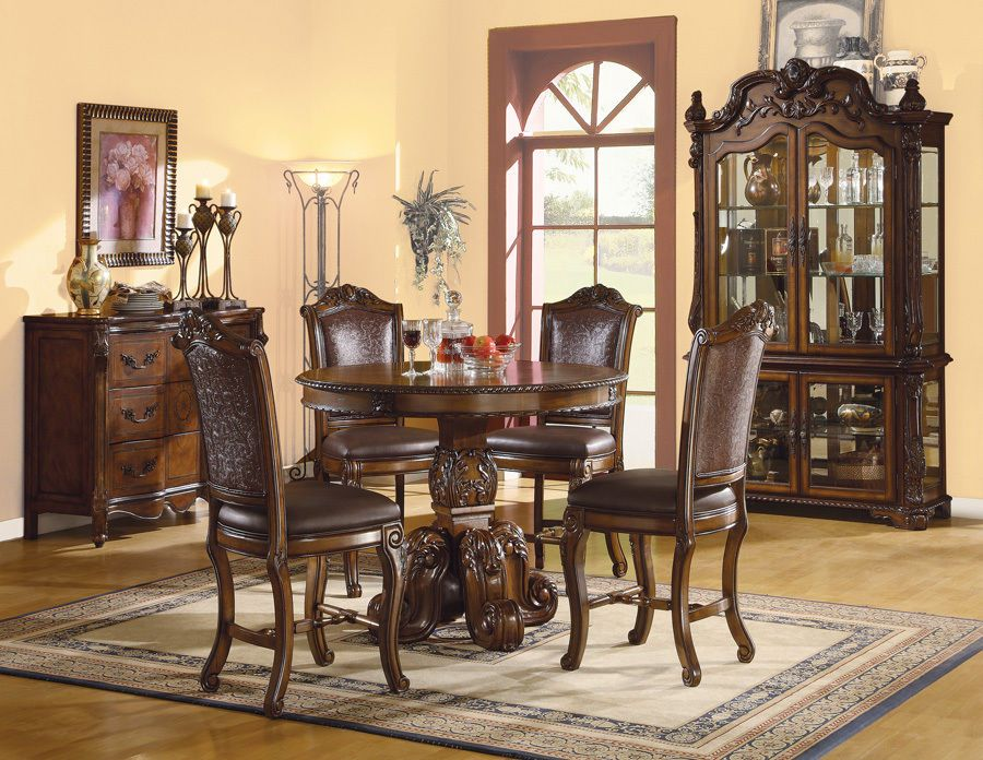 6 PC Traditional Cherry Counter Height Dining Table Buffet Chairs Set ZAC6006A