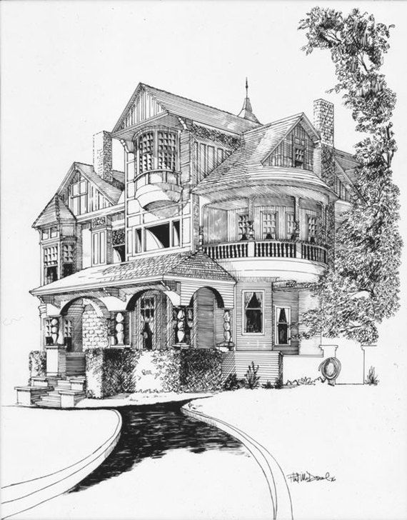 Pen and ink illustration of the Dollar Mansion, San Rafael, CA. via Etsy