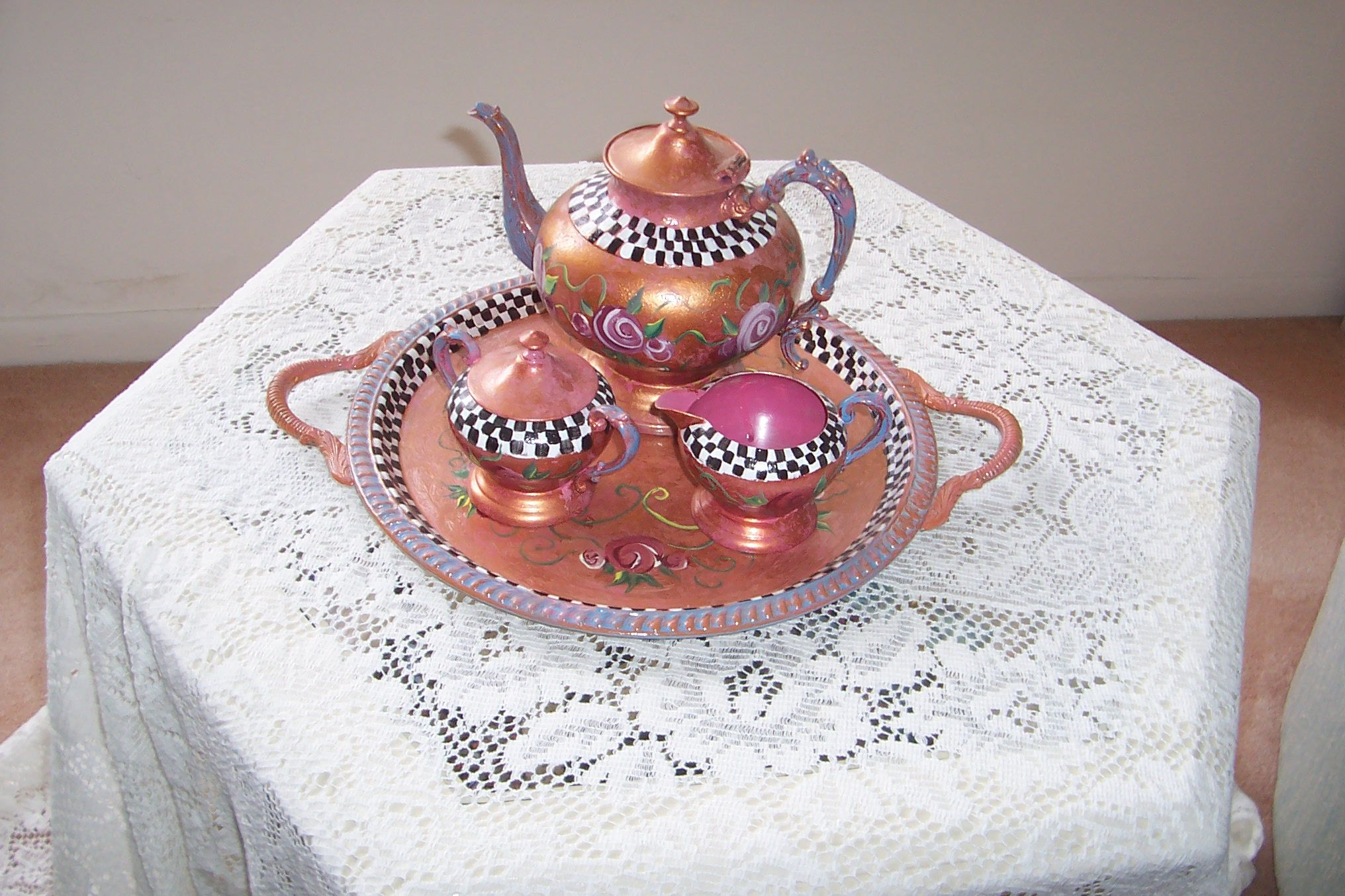 HAND PAINTED SILVER TEA SERVICE THAT YOU DO NOT HAVE TO POLISH ANYMORE!