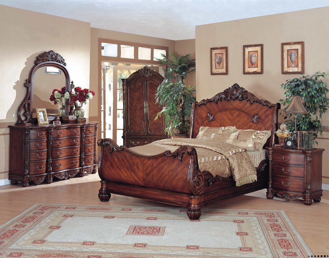 Furniture   Design   Bedroom furniture   Bedroom Sets   Wood Bed Sets    Headboard   Footboard sets   5 pc Angelina II collection brown wood finish   A M B  Furniture   Design   Bedroom furniture   Bedroom Sets  . Ornate Bedroom Furniture. Home Design Ideas