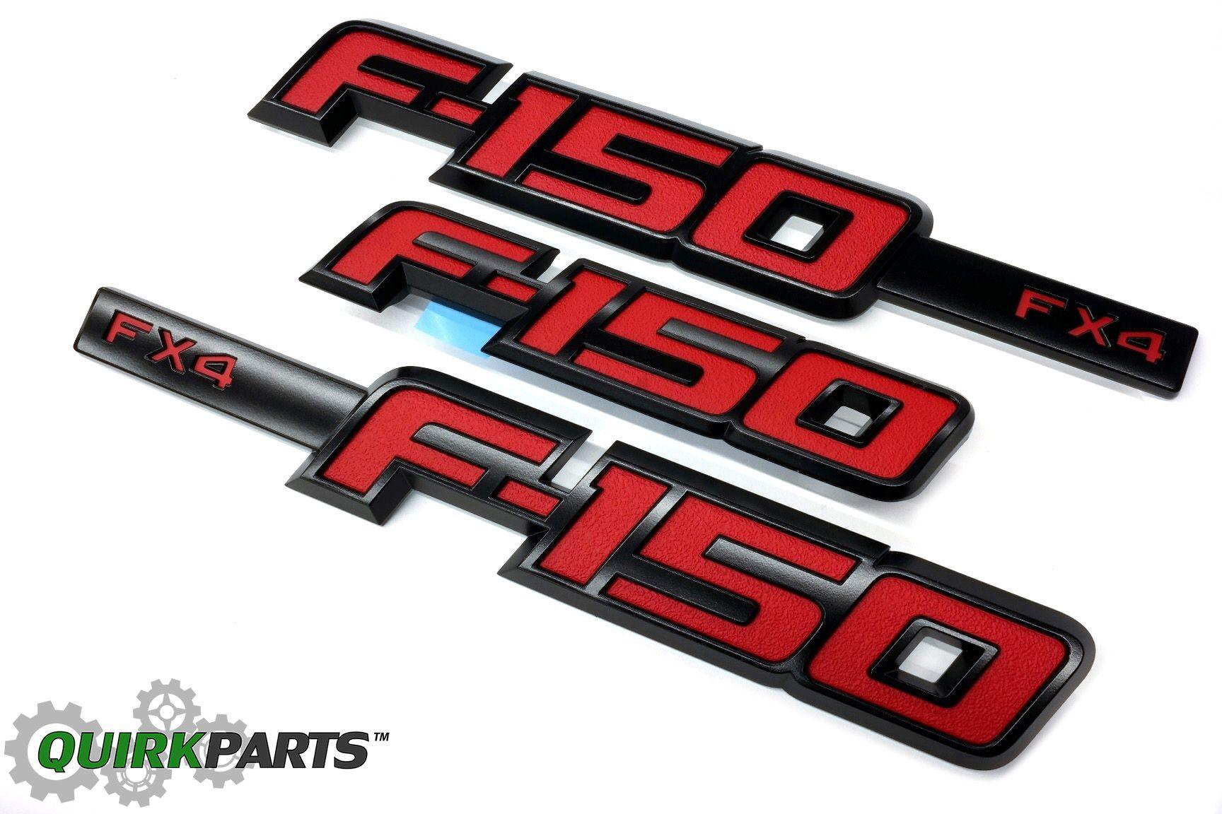 2009-2014 Ford F-150 FX4 Black /& Red Fender Emblem 2 Piece Sport Kit OEM NEW