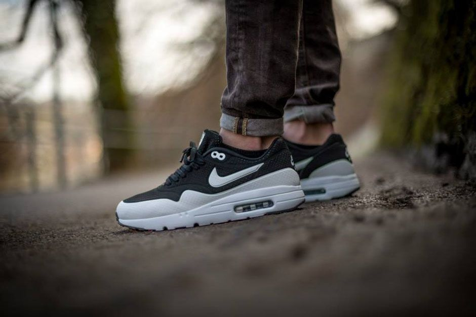 NIke Air Max 1 Ultra Moire Black White White On Feet