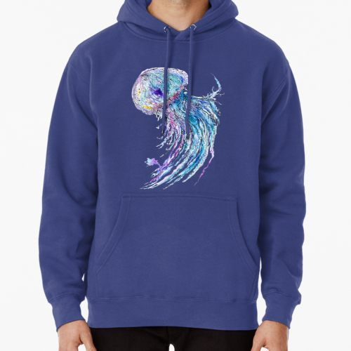 'Jelly fish watercolor and ink painting' TShirt by kisikoida is part of Watercolor jellyfish, Painting hoodie, Watercolor fish, Ink painting, Watercolor and ink, Sea life art - Creative sea life art illustration with blue medusa • Also buy this artwork on apparel, stickers, phone cases, and more
