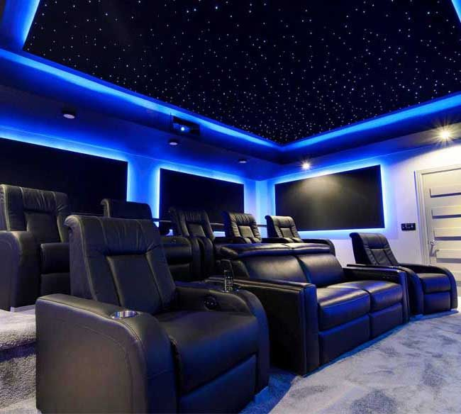 Led Starfield Panels With Optional Blue Led Surround Lighting Best Home Theater Home Theater Design Home Theater