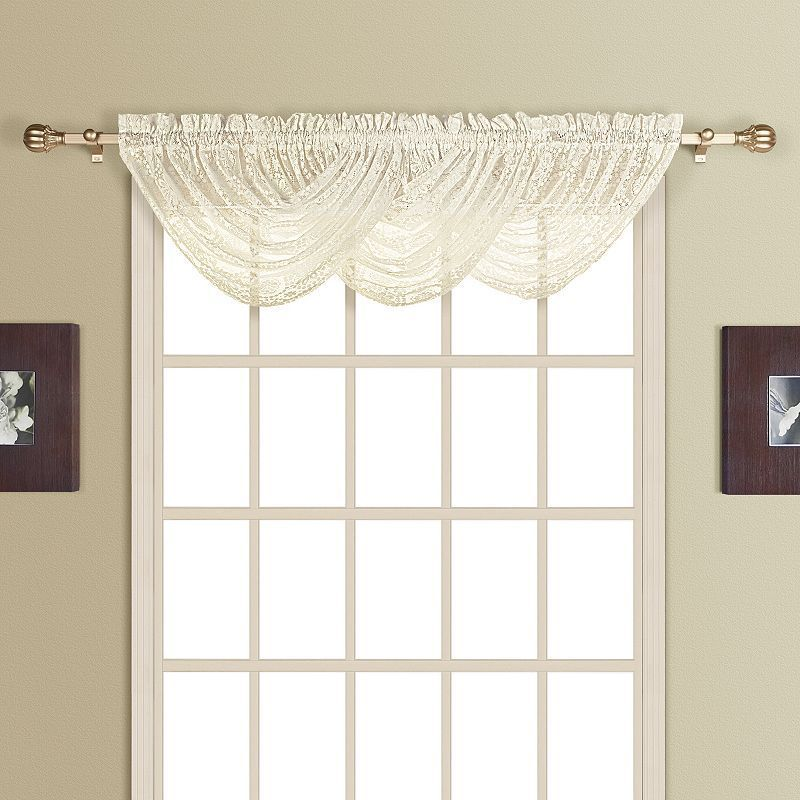 United Curtain Co Rochelle Lace Waterfall Window Valance 44 X