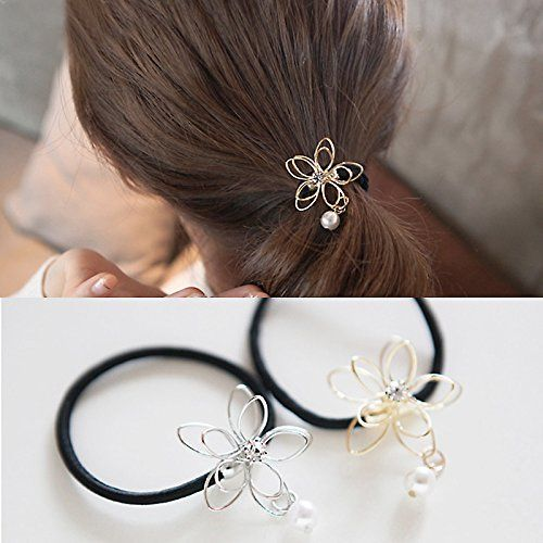 2 Pieces Hair Bows Elastic Pearl Wire Flower Ponytail Holder Scrunchy Hair  Rope Elastic Rubber Band Womens     You can find more details by visiting  the ... d7a26dbb279