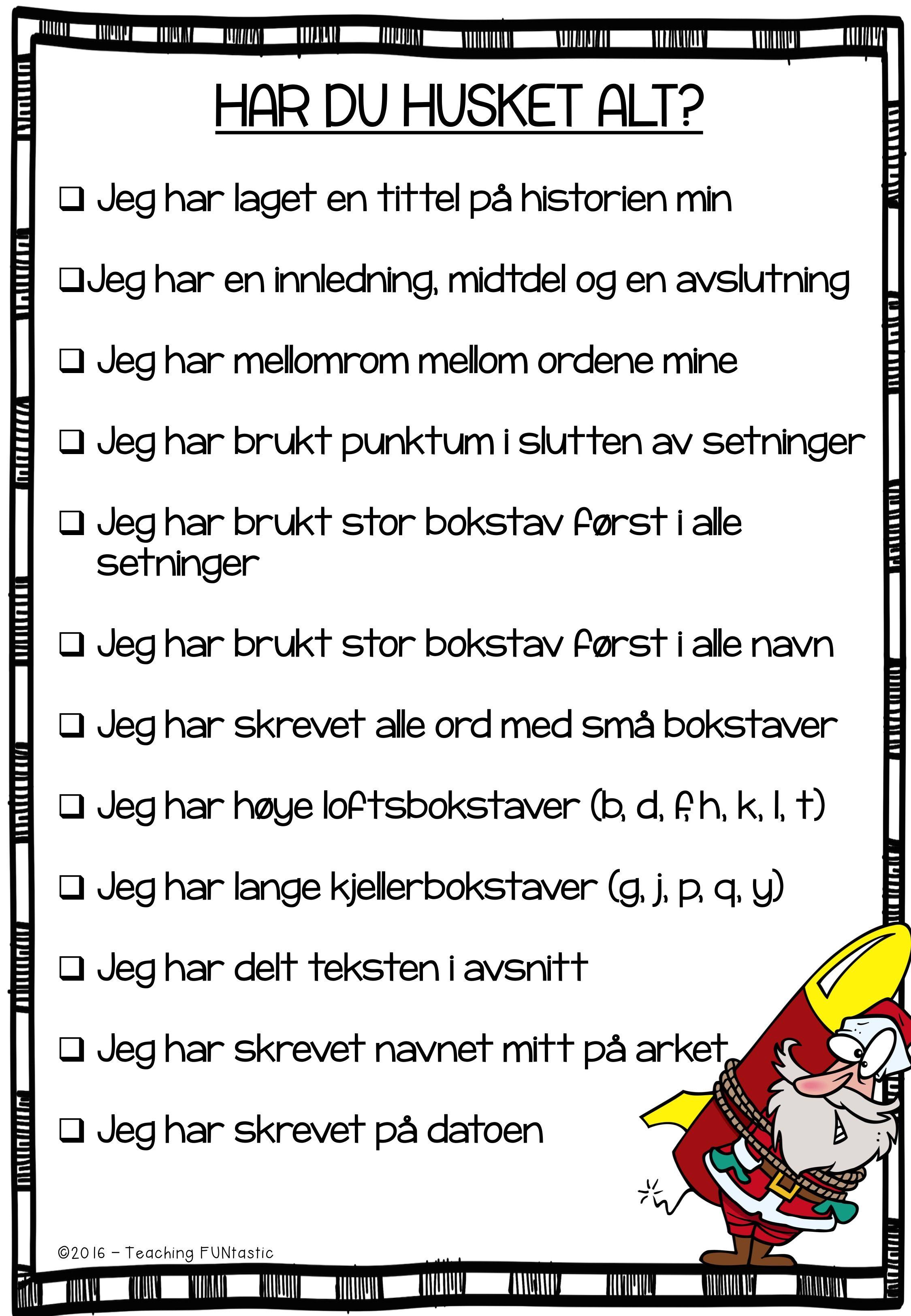 Sjekkliste for skriving - overskuelig og lige til at hænge op/printe. Inspiration til EUD10
