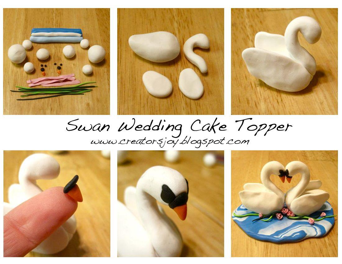 Creator s Joy Polymer clay or fondant swan wedding cake