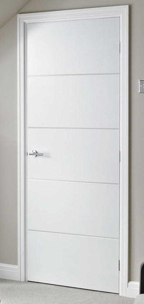 Horizontal 4 Lines Smooth White Primed Door Remodeling