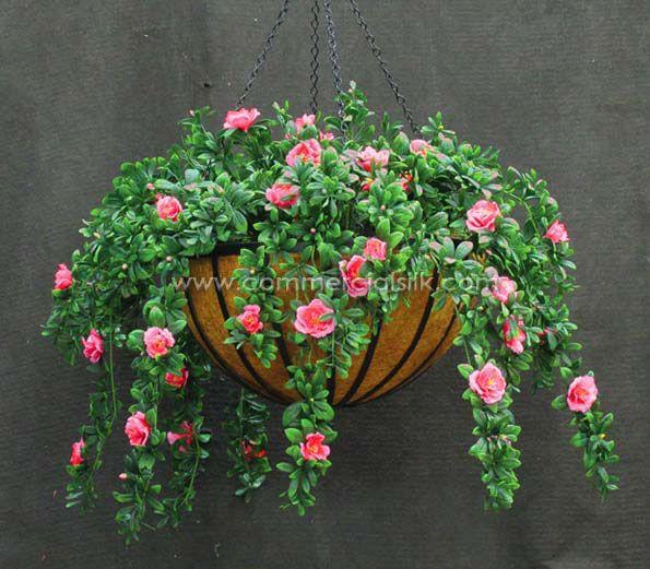 Outdoor artificial flowers azalea hanging basket commercial silk outdoor artificial flowers azalea hanging basket commercial silk mightylinksfo