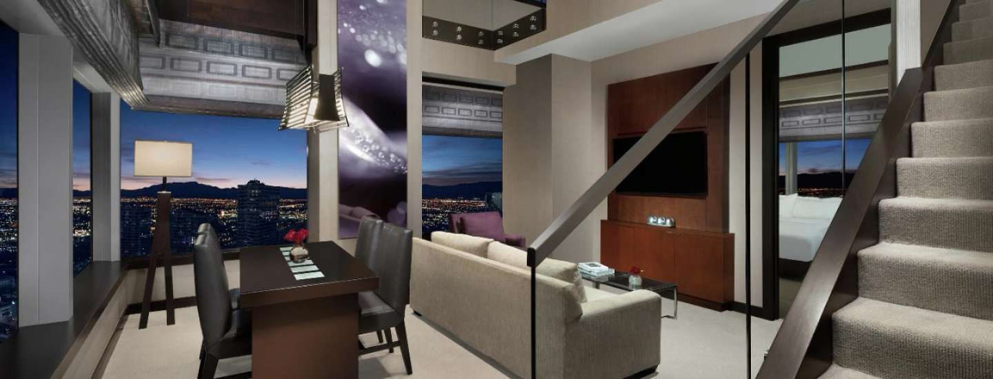 Enjoy The Ultimate Vdara Experience In The Two Bedroom Loft Boasting Of Two Levels Of Panoramic Windows And Offerin Bedroom Hotel Two Bedroom Las Vegas Suites