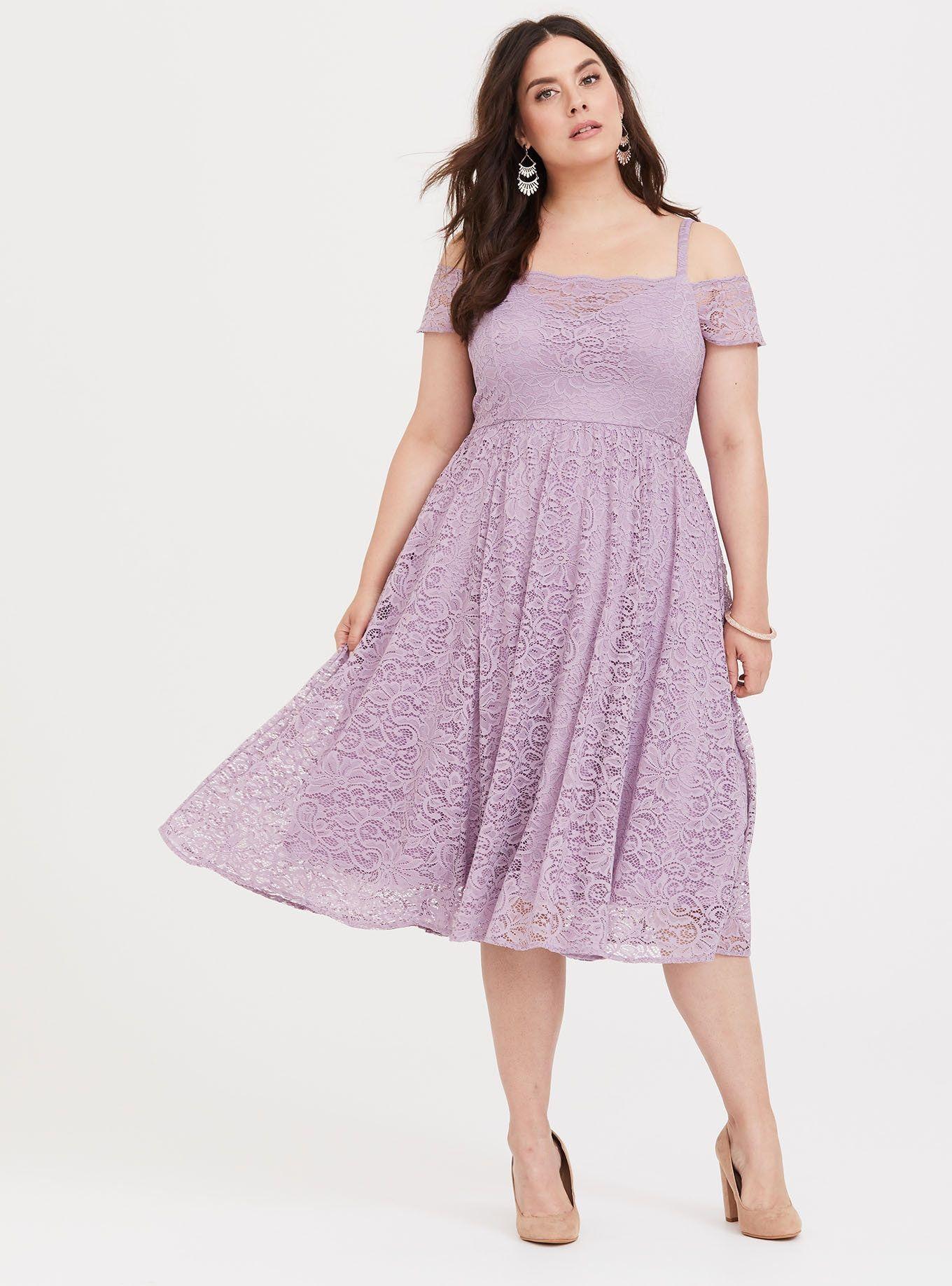 Special Occasion Purple Cold Shoulder Lace Midi Dress