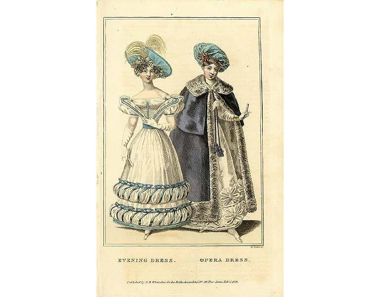 Evening dress and opera dress 1828 poster opera dress