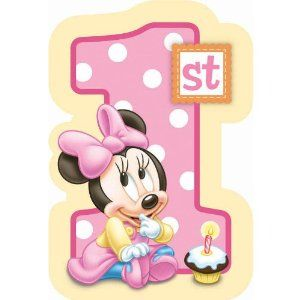 babys first birthday card | Baby Minnie Mouse 1st Birthday Invitations 8 Count Disney CHECK PRICE