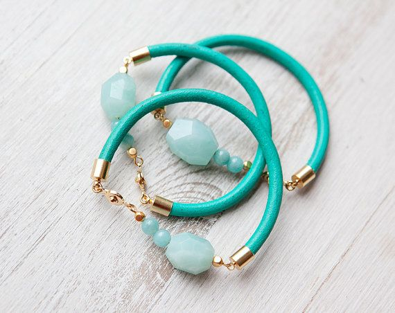 New 2013 Collection ONE Light Blue Amazonite on Teal by pardes, $30.00
