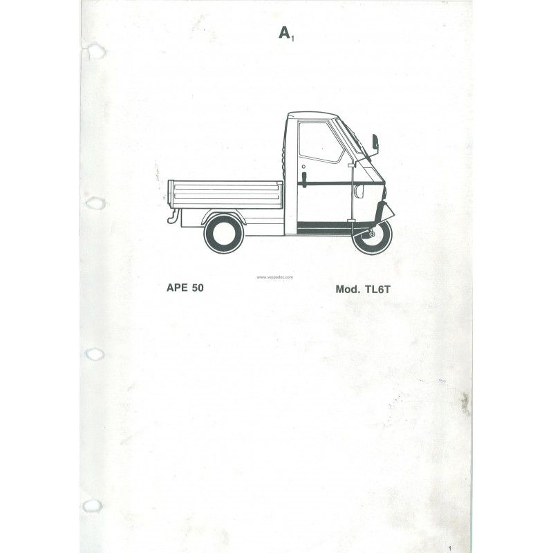 catalogue of spare parts piaggio ape 50 mod. tl6t