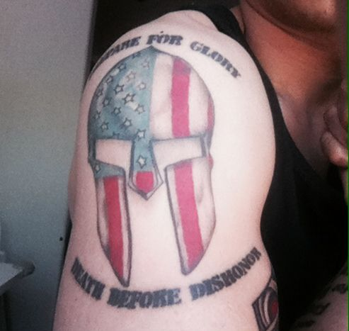 my spartan helmet motto tattoo with an american soldier twist my ink and ink ideas. Black Bedroom Furniture Sets. Home Design Ideas