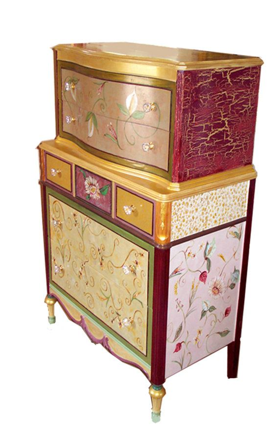 Hand painted one of a kind furniture and by vintagecowgirlco - bemalte mobel romantischen motiven