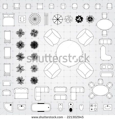 Set Of Simple Flat Vector Icons Furniture For Floor Plan Outline