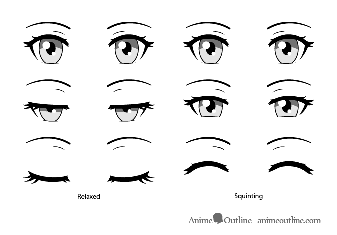 How To Draw Closed Closing Squinted Anime Eyes Animeoutline How To Draw Anime Eyes Closed Eye Drawing Anime Eye Drawing