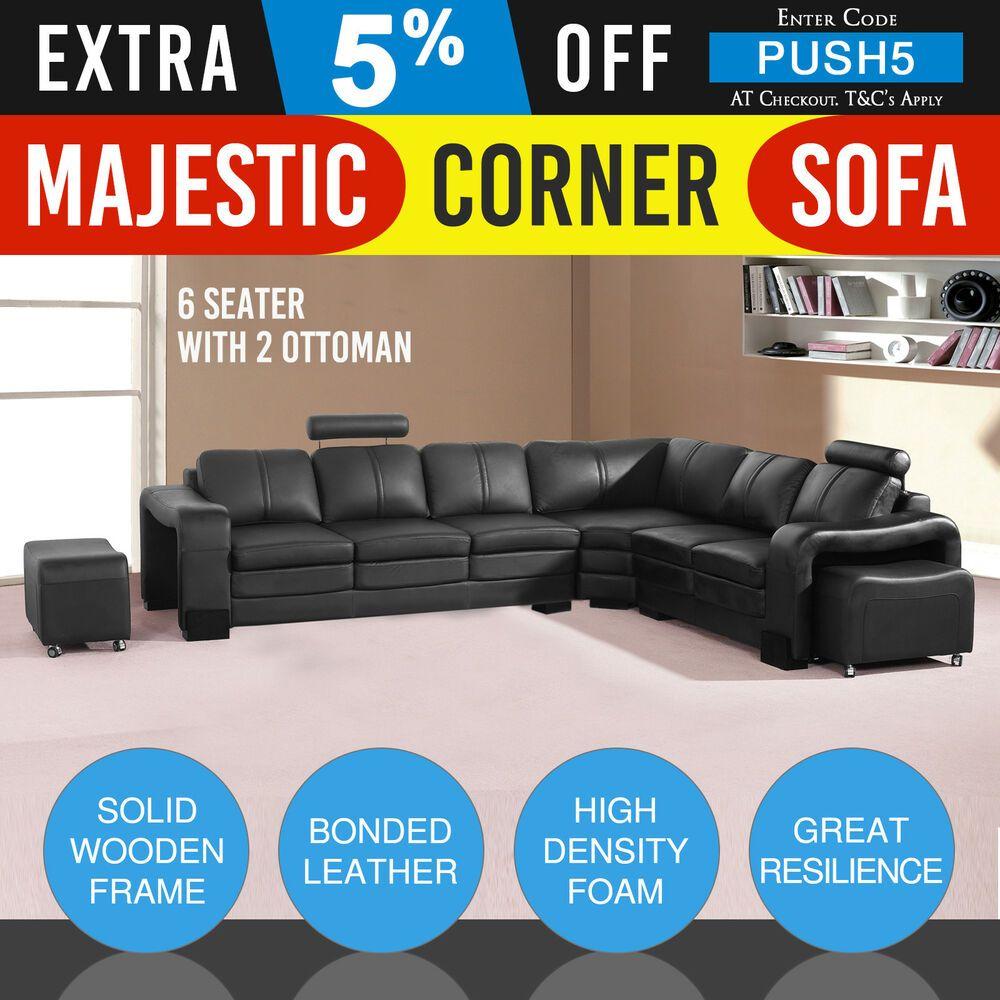 Pleasant 6 Seater Corner Black Bonded Leather 2X Movable Ottoman Inzonedesignstudio Interior Chair Design Inzonedesignstudiocom