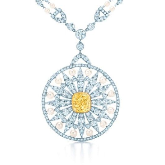 Tiffany pendant with a cushion cut fancy vivid tiffany yellow tiffany pendant with a cushion cut fancy vivid tiffany yellow diamond in 18 karat gold aloadofball Image collections