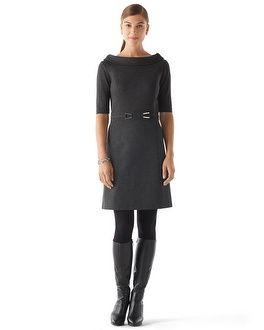 White House   Black Market Rolled Collar Ponte Dress  Tweed-Paneled Ponte Sheath #whbm