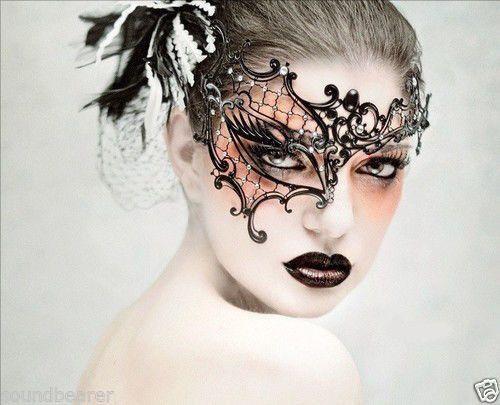 Half Face SEXY SWAN Venetian Party Masquerade Laser Cut Metal Filigree Mask (MAKEUP)