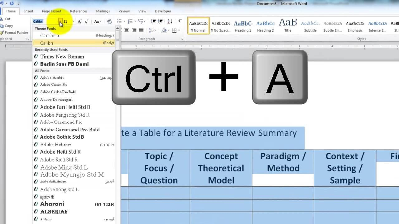 How To Create A Table For A Literature Review Summary Literature
