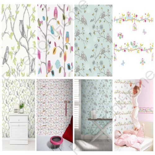 OWLS WALLPAPER CHOOSE FROM 6 DESIGNS NEW WALL DECOR