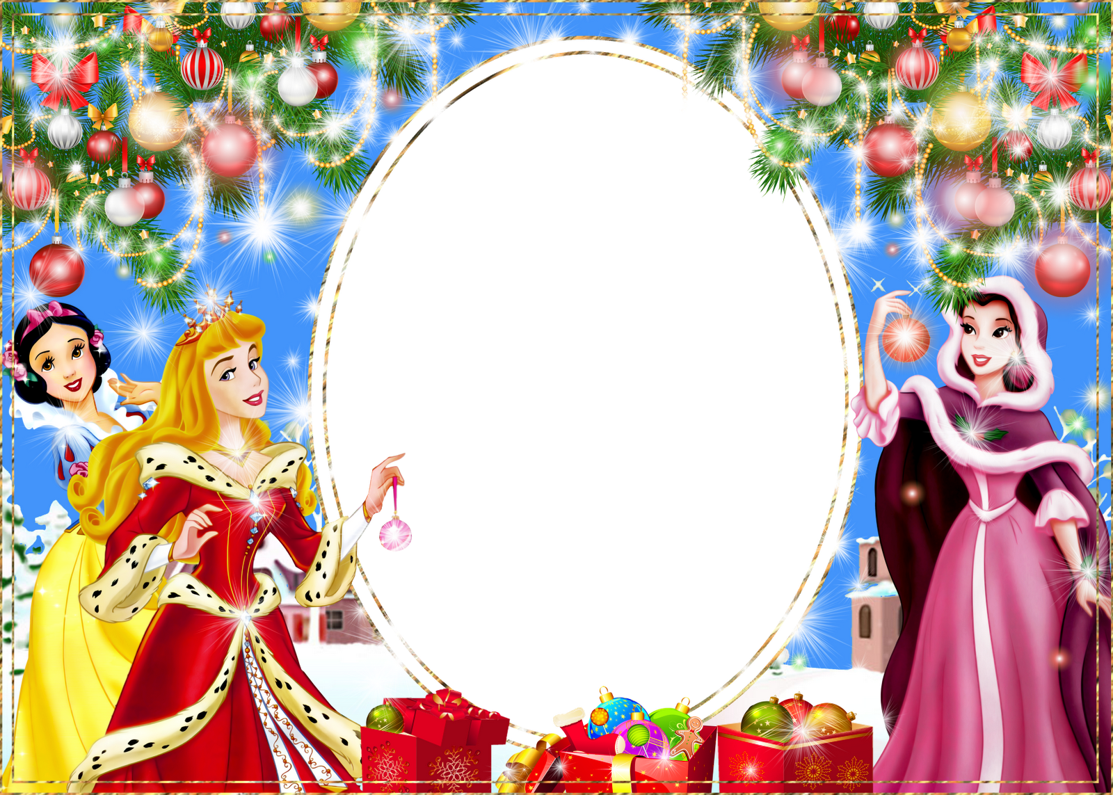 Christmas PNG Kids Photo Frame with Princesses | cadre ...