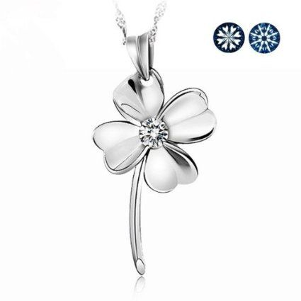 Topstaronline (TM) Fashion Large Four Leaf Clover of Faith & Hope & Love & Luck Swarovski Swiss Crystal Sterling Silver Pendant ...
