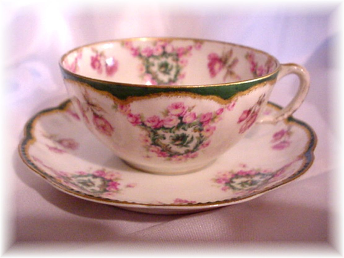 Haviland Limoges France Cup and Saucer with Pink Roses Double Gold
