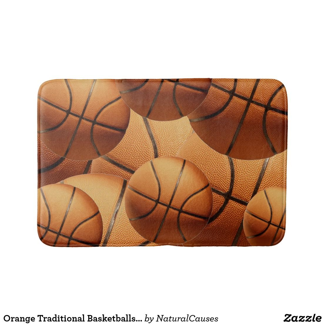 Orange Traditional Basketballs Memory Foam Bathmat Zazzle Com Au