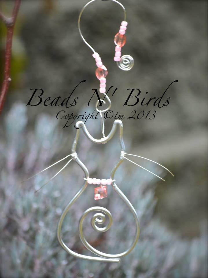 Cat Window Jewels: Cat comes with a charm necklace and decorated hanging chain. Our cats are created with love. Made with silver wire and many glass beads. Ou