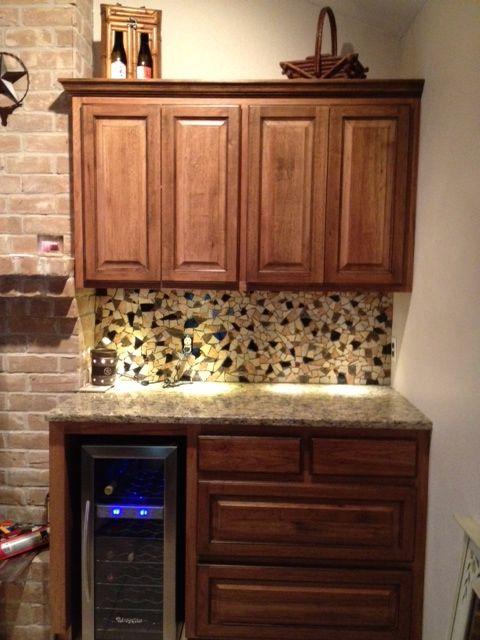 Broken Tiles Used As Mosaic Backsplash